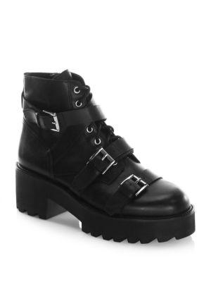 Ash Razor Leather Stacked Boots