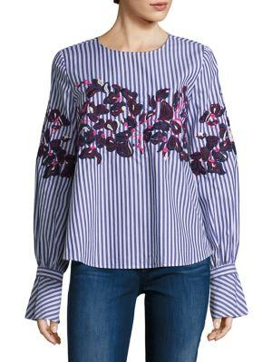Tanya Taylor Marcie Embroidered Menswear Stripe Shirt