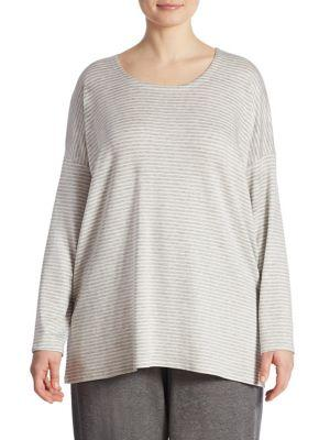 Eileen Fisher, Plus Size Striped Box Top
