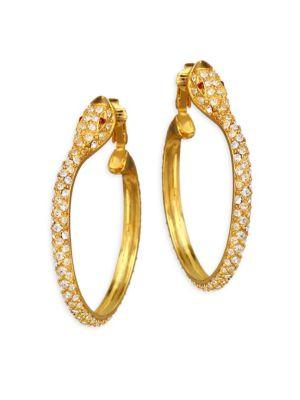 Kenneth Jay Lane Pave Snake Hoop Earrings