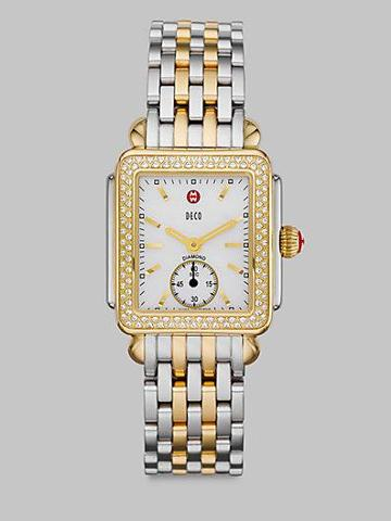Michele Watches Diamond Two-tone Rectangular Watch