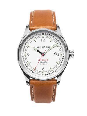 Jack Mason Nautical Stainless Steel & Italian Leather Automatic Strap Watch