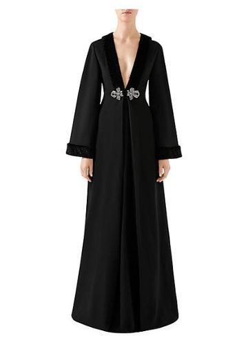 Gucci Embellished Faux Fur-trim Gown