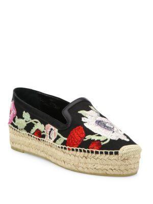 Alexander Mcqueen Floral-embroidered Platform Espadrille Flats