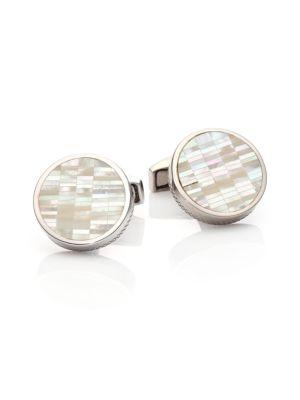 Tateossian Mother-of-pearl & Sterling Silver Bamboo Cuff Links