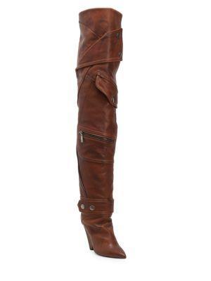 Saint Laurent Niki Leather Pocket Boots