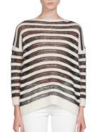 Saint Laurent Long Sleeve Striped Sweater