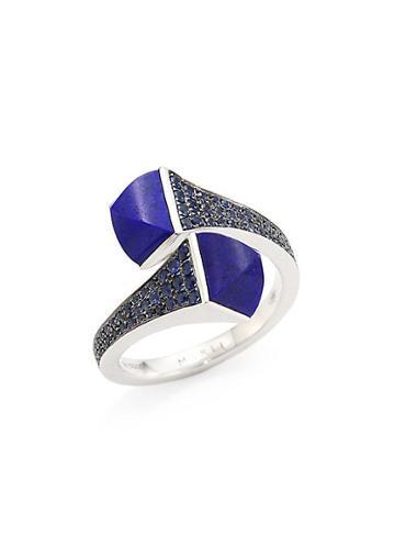 Marli Cleo X Marli 18k White Gold, Lapis Lazuli & Blue Sapphire Ring