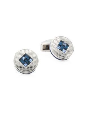 Tateossian Montana Crystal And Light Sapphire Interlock Cufflinks