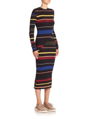 Stella Mccartney Striped Midi Sweater Dress