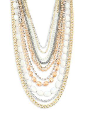 Abs By Allen Schwartz Jewelry Multi-row Two-tone Necklace