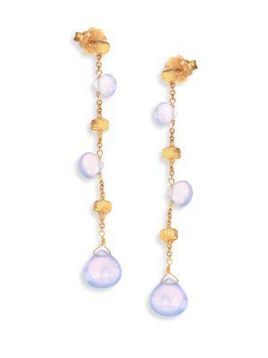 Marco Bicego Paradise Chalcedony & 18k Yellow Gold Long Drop Earrings