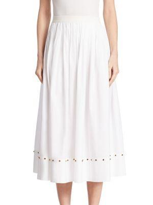 Agnona Cabachon-trim Cotton Poplin Skirt