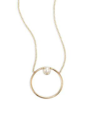 Zoe Chicco 4mm White Freshwater Cultured Pearl And 14k Yellow Gold Circle Necklace/16