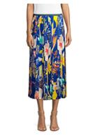 Agnona Pleated Floral Midi Skirt