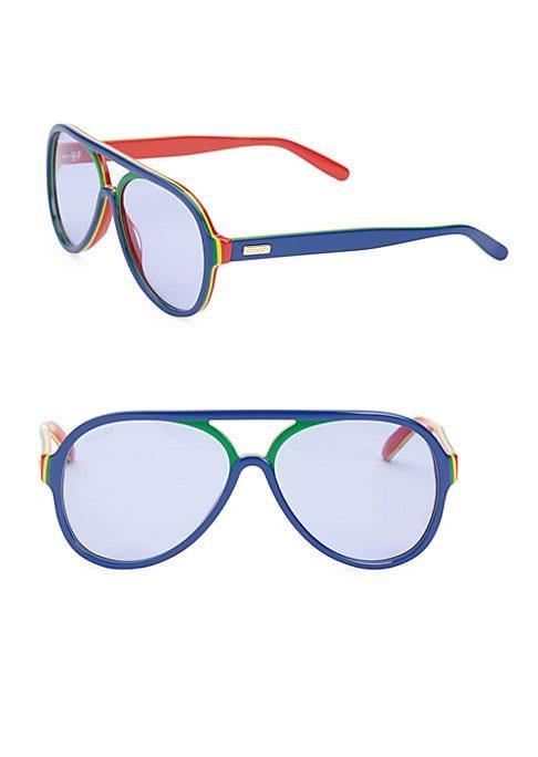Gucci 57mm Striped Aviator Sunglasses