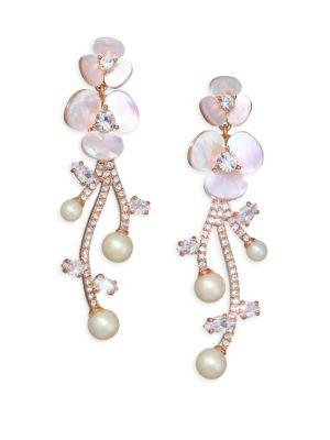 Kate Spade New York Disco Pansy Mother Of Pearl And Crystal Statement Earrings