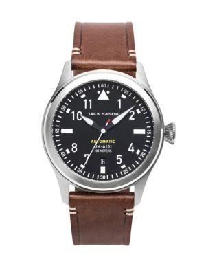 Jack Mason Aviation Stainless Steel & Italian Leather Automatic Strap Watch