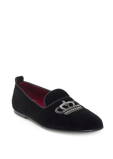 Dolce & Gabbana Velvet Slip-on Crown Loafers