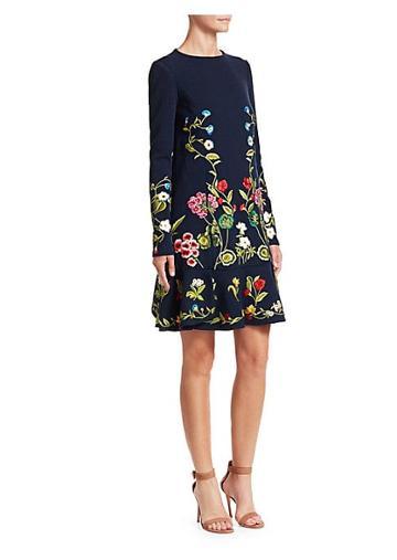 Oscar De La Renta Botanical Garden Embroidered Shift Dress