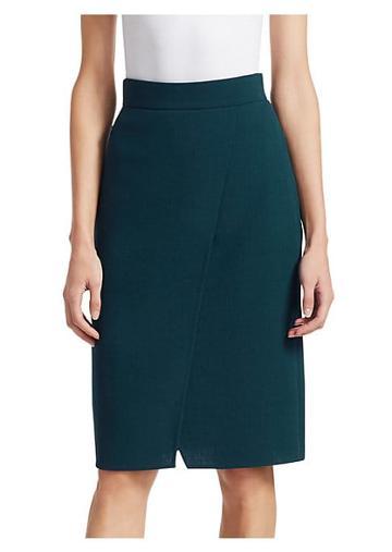 Akris Wrap Effect Wool Crepe Skirt