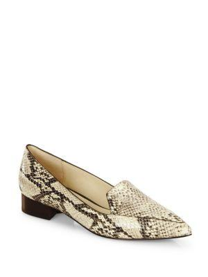 Cole Haan Dellora Snake-embossed Leather Skimmer Flats