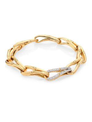 John Hardy Bamboo Diamond & 18k Yellow Gold Link Bracelet