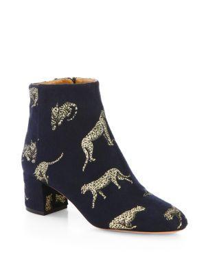 Aquazzura Brooklyn Leopard Jacquard Block Heel Booties