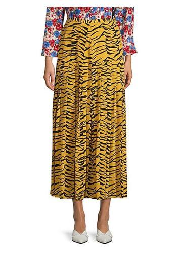 Rixo Tina Drop Waist Tiger Print Maxi Skirt