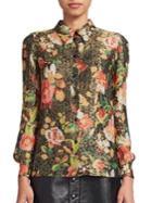 Saint Laurent Vintage Floral Lame Blouse