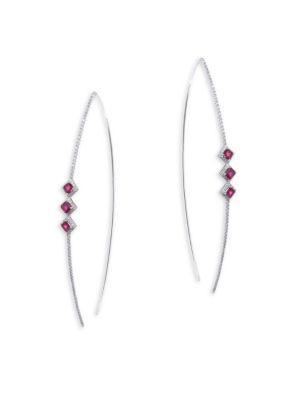 Meira T Diamond & Ruby Open Hoop Earrings