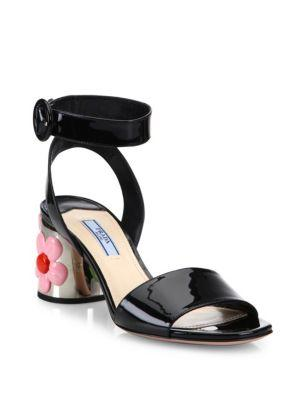Prada Flower-heel Patent Leather Ankle-strap Sandals