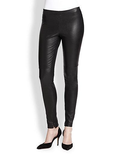 Vince Zip-cuff Leather Leggings