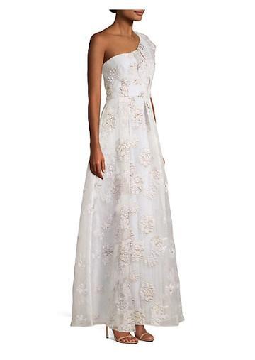 Bcbgmaxazria Metallic Organza One Shoulder Gown