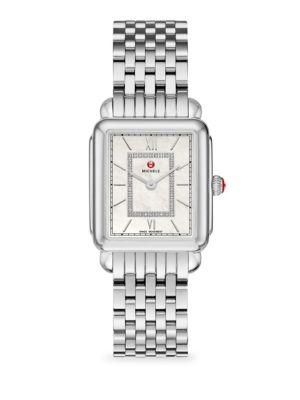 Michele Watches Deco Ii Mid Stainless Steel Diamond Watch