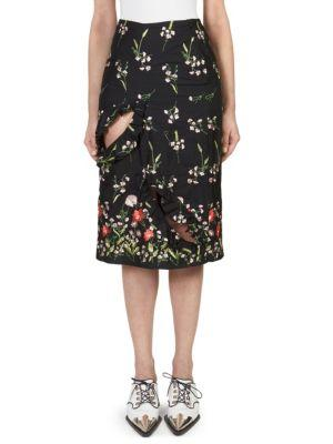 Marques'almeida Floral Embroidered Skirt
