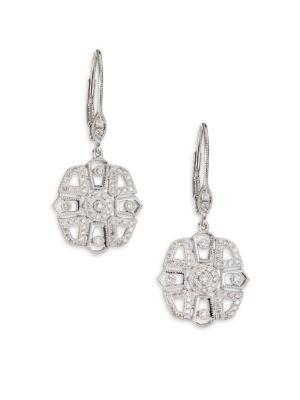 Meira T Diamond & 14k White Gold Deco Drop Earrings