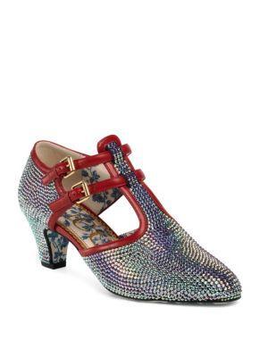Gucci Crystal Embellished T-strap Leather Pumps