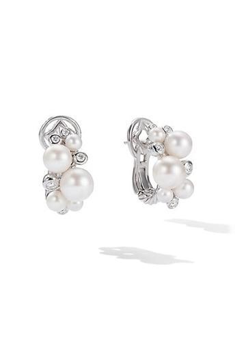 David Yurman Pearl Pave Diamonds & Pearl Cluster Earrings