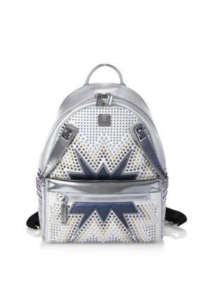 Mcm Dual Stark Cyber Studs Metallic Leather Backpack