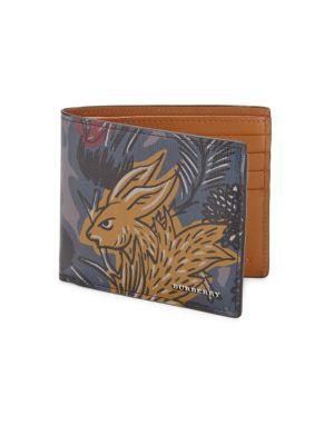 Burberry Thistle Beast Leather Bi-fold Wallet