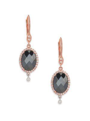 Meira T Hematite, Diamond & 14k Rose Gold Drop Earrings