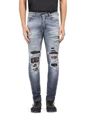 Marcelo Burlon Distressed Slim-fit Denim Jeans