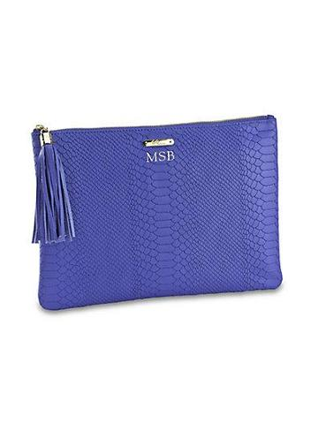 Gigi New York Personalized Python-embossed Leather Clutch