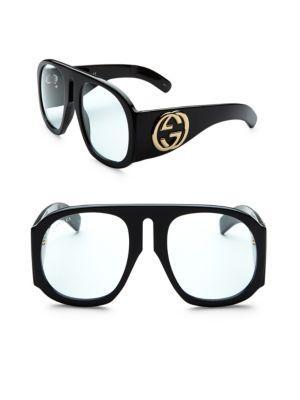 Gucci 57mm Exaggerated Aviator Sunglasses
