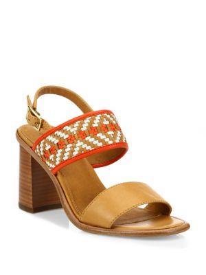 Frye Amy Woven Leather Block Heel Sandals
