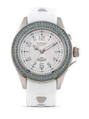 Kyboe Radiant Clarity Swarovski Crystal And Silicone Strap Watch