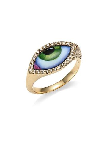 Lito 14k Yellow Gold & Diamond Green Eye Ring