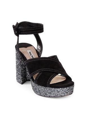 Miu Miu Crisscross Suede Platform Sandals