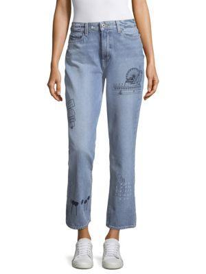 Paige Sarah Vintage Embroidered Straight-leg Jeans